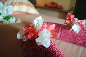 La Case du Pecheur Guesthouse - Double bedroom with towel ad flower deco